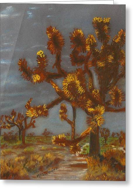 Michael Pastels Greeting Cards - Dessert Trees Greeting Card by Michael Anthony Edwards