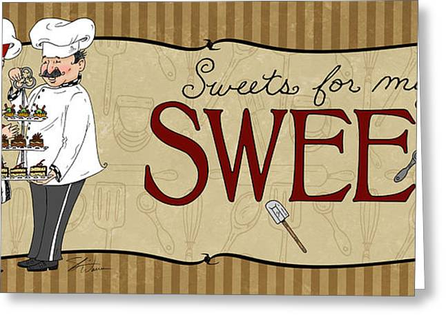 Italian Restaurant Mixed Media Greeting Cards - Desserts Kitchen Sign-Sweet Greeting Card by Shari Warren