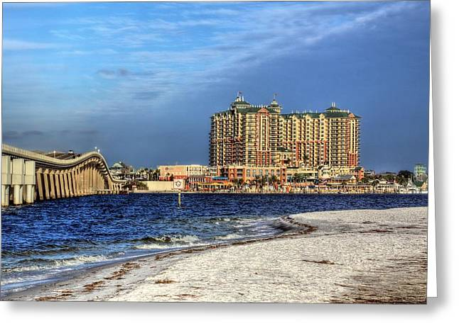 Sea Oats Greeting Cards - Destin Bridge Greeting Card by JC Findley