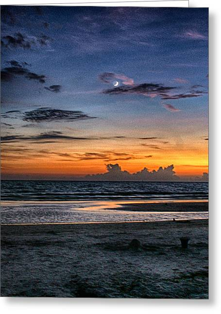 Moon Beach Pyrography Greeting Cards - Destin Moon at Sunset Greeting Card by Gary Dugger