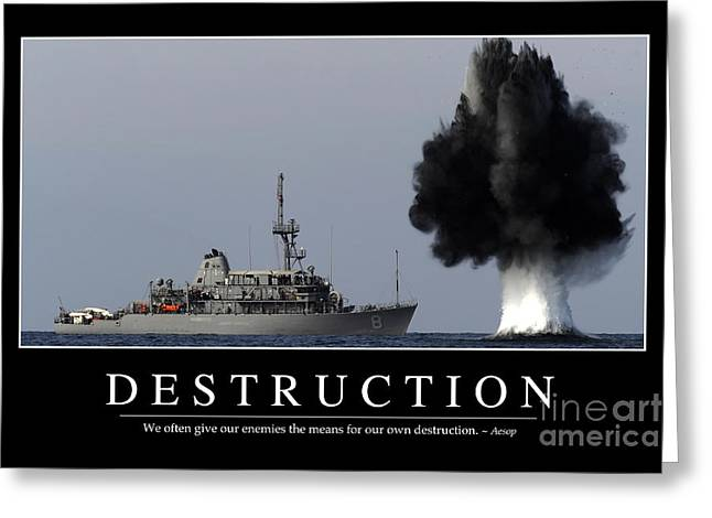 Detonating Greeting Cards - Destruction Inspirational Quote Greeting Card by Stocktrek Images