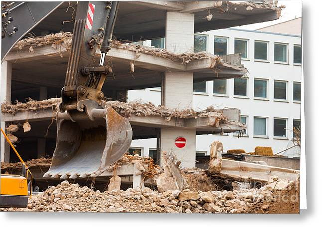 Dismantled Photographs Greeting Cards - Destruction of concrete building with equipment Greeting Card by Stephan Pietzko
