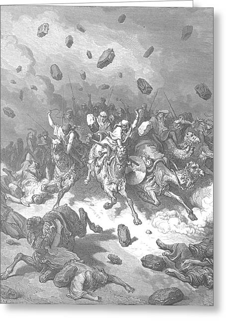 Dore Paintings Greeting Cards - Destruction of the Army of the Amorites Greeting Card by Gustave Dore