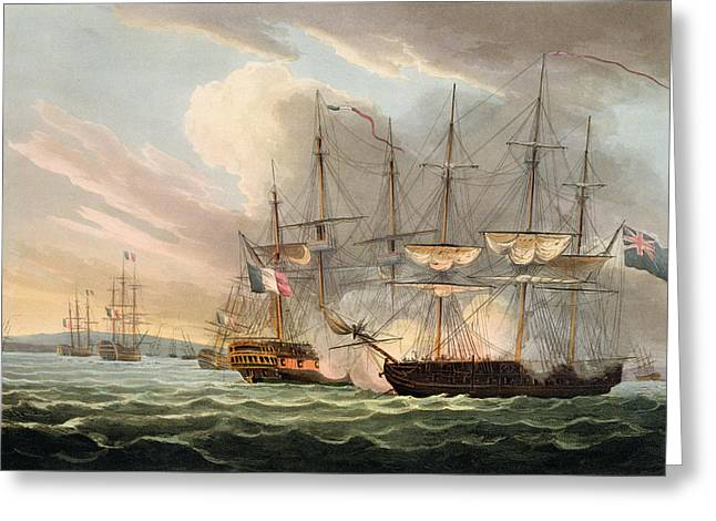 Cannon Drawings Greeting Cards - Destruction Of The French Fleet Greeting Card by Thomas Whitcombe