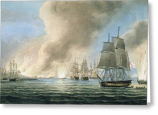 Maritime Drawings Greeting Cards - Destruction Of The Turkish Fleet Greeting Card by Thomas Whitcombe