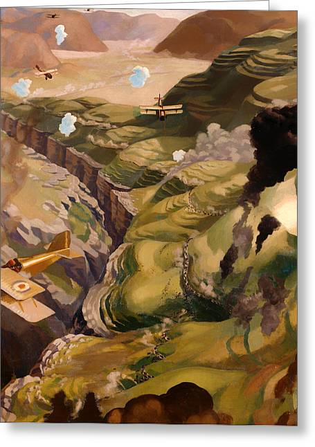 Military Airplanes Paintings Greeting Cards - Destruction of the Turkish Transport Greeting Card by Sydney Carline