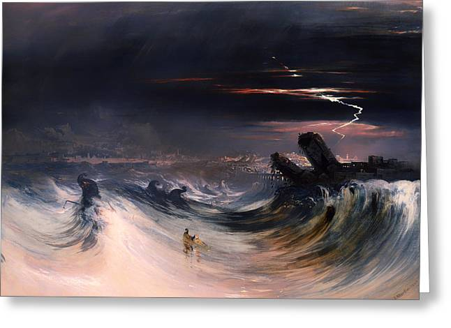 Mideast Greeting Cards - Destruction of Tyre Greeting Card by John Martin