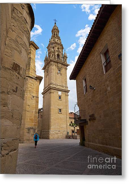 Rioja Greeting Cards - Detached tower of the cathedral of Santo Domingo de la Calzada Greeting Card by Louise Heusinkveld