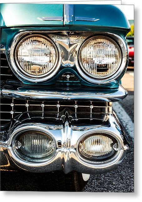 Caddy Greeting Cards - Detail - 1959 Cadillac Sedan Deville Series 62 Grill Greeting Card by Jon Woodhams