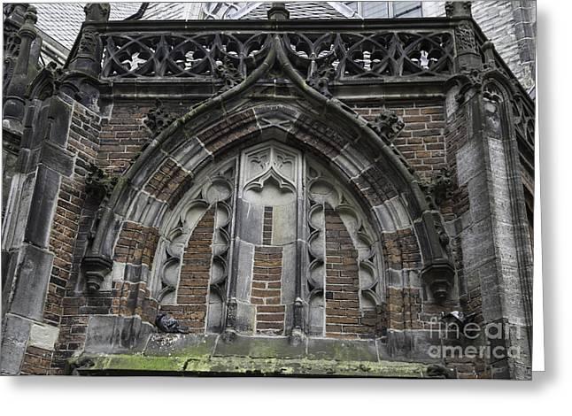 Weathervane Photographs Greeting Cards - Detail Above Door Oude Kerk Amsterdam Greeting Card by Teresa Mucha