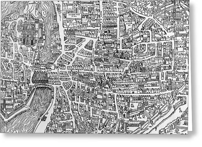 Notre Dame Greeting Cards - Detail From A Map Of Paris In The Reign Of Henri Ii Showing The Quartier Des Ecoles, 1552 Engraving Greeting Card by French School