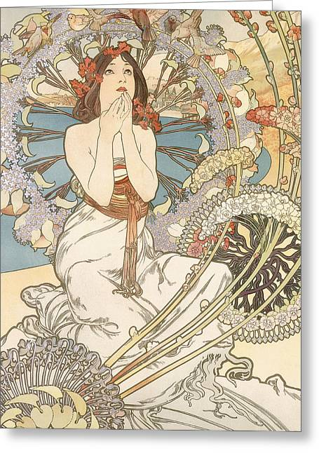 White Drawings Greeting Cards - Detail from Monaco  Monte Carlo Greeting Card by Alphonse Marie Mucha
