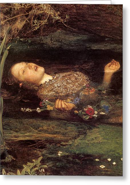 Victorian Aesthetic Greeting Cards - Detail from Ophelia Greeting Card by Philip Ralley