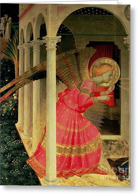 Annunciation Greeting Cards - Detail from The Annunciation showing the Angel Gabriel Greeting Card by Fra Angelico