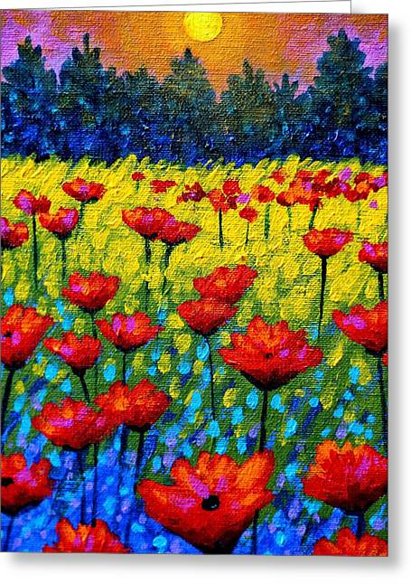 Acrylic Greeting Cards - Detail from Twilight Poppies  Greeting Card by John  Nolan