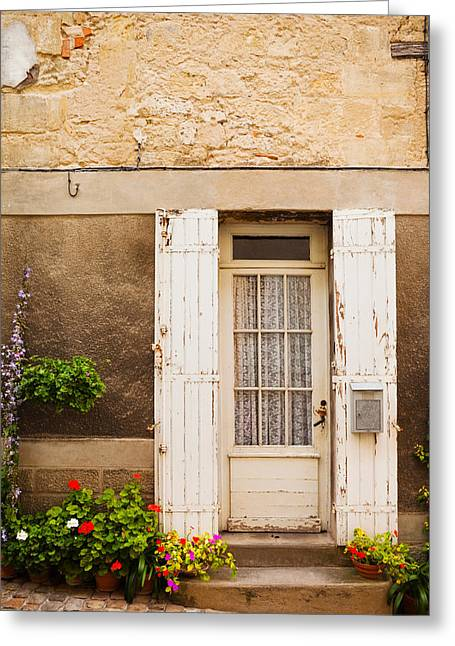 Entrance Door Greeting Cards - Detail Of A Building, Saint-emilion Greeting Card by Panoramic Images