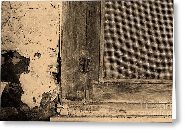 Screen Doors Greeting Cards - Detail of an Old Screen Door  Greeting Card by John Harmon
