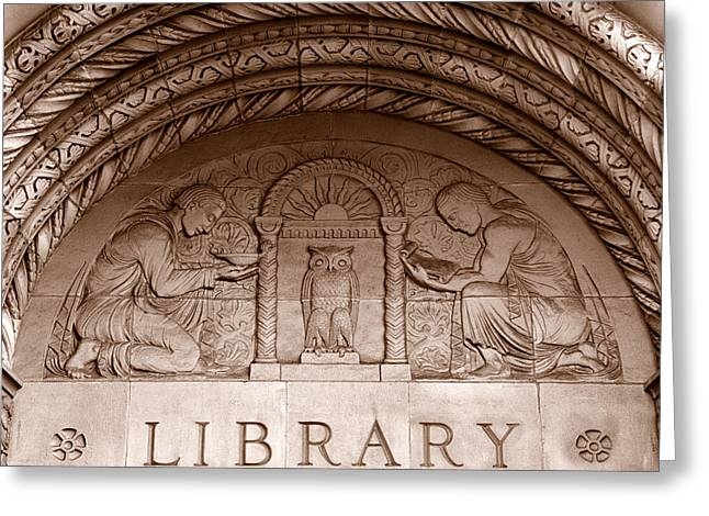 Library Greeting Cards - Detail Of Carvings On The Wall Greeting Card by Panoramic Images