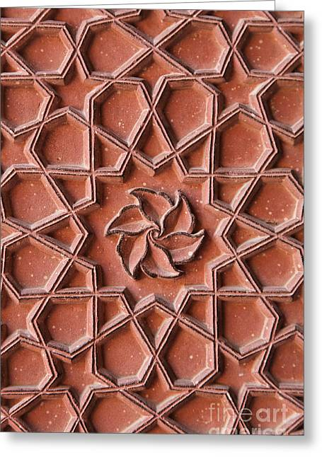 Geometric Design Greeting Cards - Detail of decoration on the walls at Agra Fort in India Greeting Card by Robert Preston
