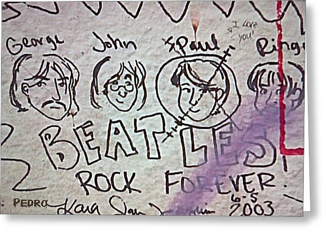 Detail Of Graffiti On Abbey Road Sign Greeting Card by George Pedro