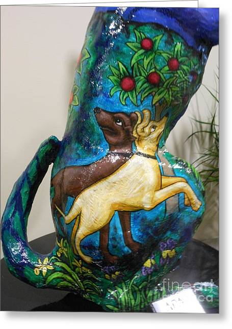 Fine Art Prints Sculptures Greeting Cards - Detail of Hunt For The Unicorn On A Full Moon Greeting Card by Genevieve Esson