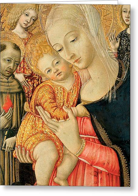Christ Child Greeting Cards - Detail of Madonna and Child with angels Greeting Card by Matteo di Giovanni di Bartolo