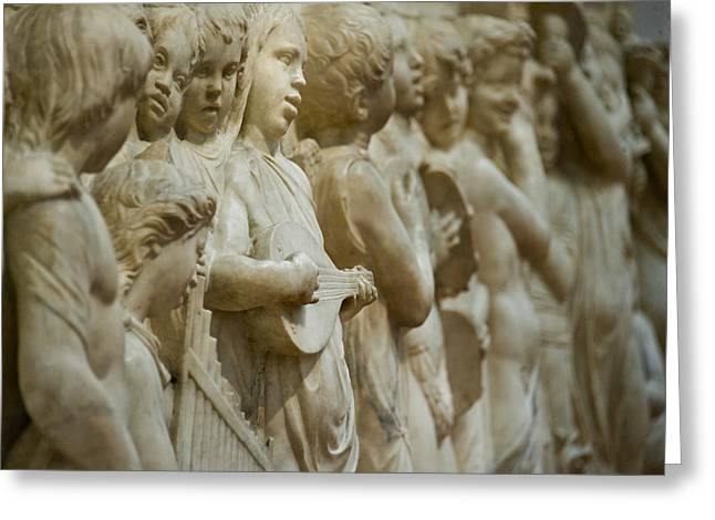 Florence Greeting Cards - Detail Of Marble Relief, Florence Greeting Card by Panoramic Images