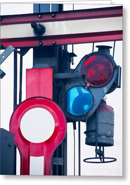 Signalbox Greeting Cards - Detail of old railway semaphore Greeting Card by Stephan Pietzko
