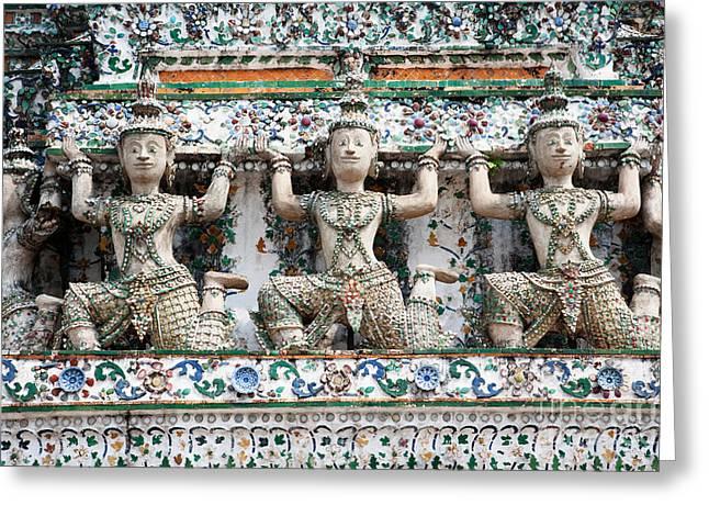 Caryatids Greeting Cards - Detail Of Temple, Thailand Greeting Card by David Davis