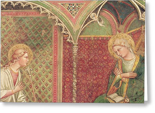 Announcement Greeting Cards - Detail of The Annunciation Greeting Card by Aretino Luca Spinello