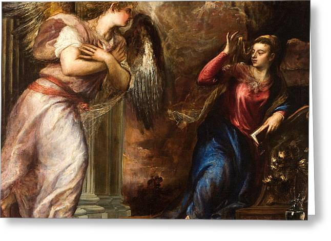Announcement Greeting Cards - Detail of The Annunciation Greeting Card by Titian