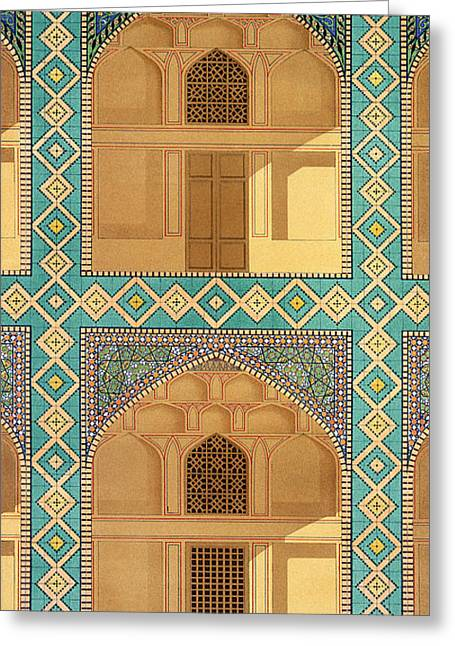 Tile Drawings Greeting Cards - Detail Of The Courtyard Arcades Greeting Card by Pascal Xavier Coste