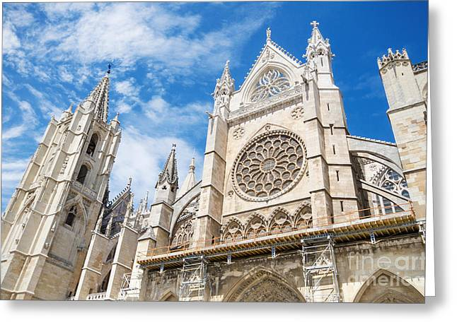Destinies Cross Greeting Cards - Detail of the facade of Leon Cathedral Castilla y Leon Spain Greeting Card by David Herraez