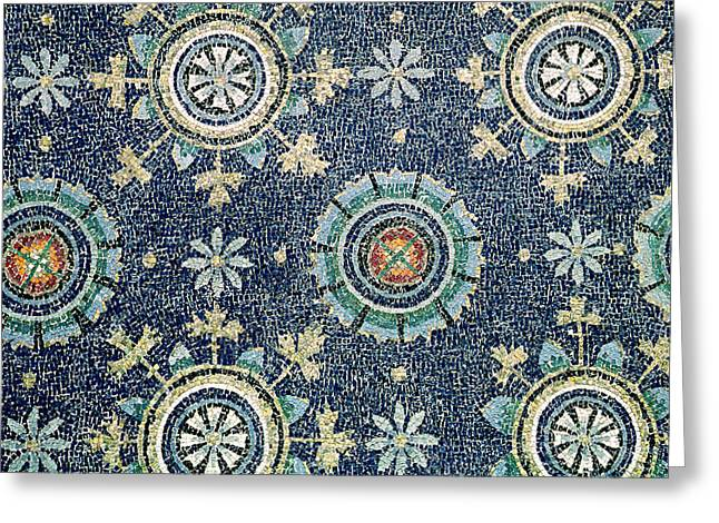 Byzantine Greeting Cards - Detail of the floral decoration from the vault mosaic Greeting Card by Byzantine