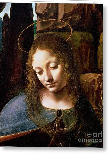 Details Greeting Cards - Detail of the Head of the Virgin Greeting Card by Leonardo Da Vinci