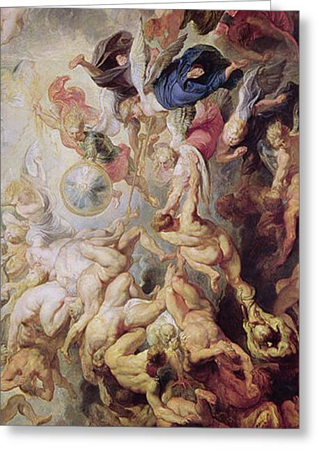 The Fall Greeting Cards - Detail of The Last Judgement Greeting Card by Rubens