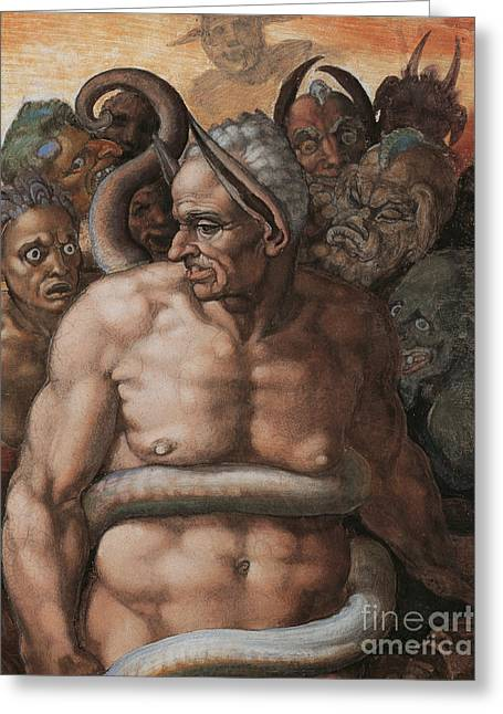 Sinner Greeting Cards - Detail of The Last Judgment Greeting Card by Michelangelo