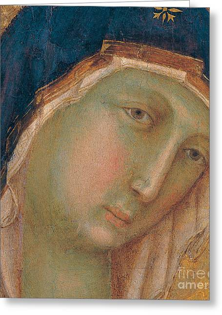 Polyptych Greeting Cards - Detail of the Virgin Mary Greeting Card by Duccio di Buoninsegna