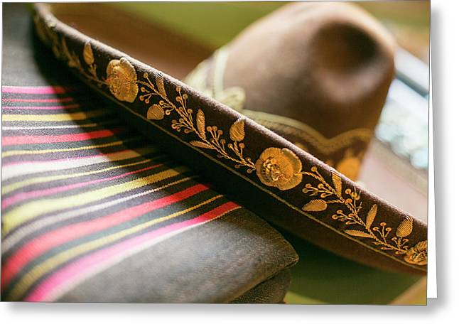 Detail On The Brim Of A Hat, Santa Fe Greeting Card by Julien Mcroberts