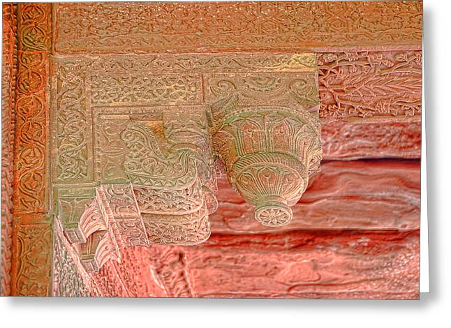 Peaches Corner Greeting Cards - Detailed Ceiling Support at Fatepur Sikri Palace Greeting Card by Linda Phelps