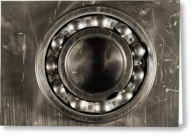 Detailed Titanium Ball Bearing Against Steel Greeting Card by Christian Lagereek