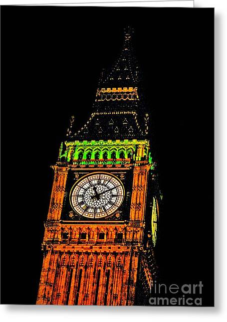 Owner Art Mixed Media Greeting Cards - Detailed View Of Londons Big Ben Greeting Card by Michael Braham