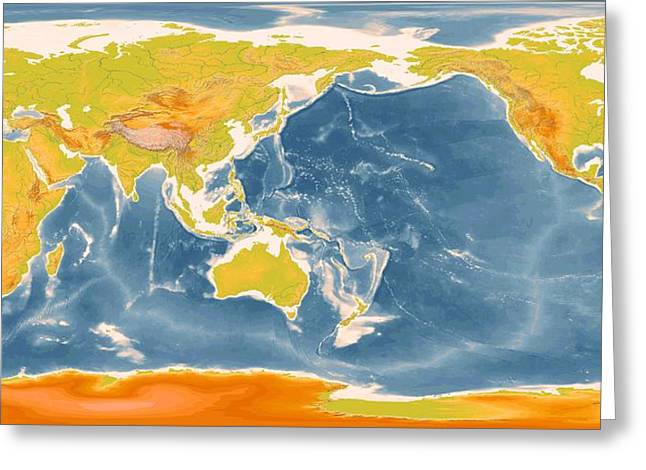 Detailed World Geographic Map Enhanced II   Greeting Card by L Brown