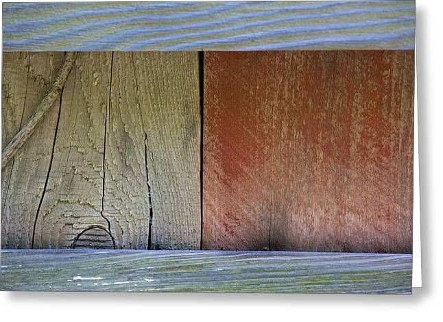 Worn In Greeting Cards - Details of a Weathered Barn Door Greeting Card by David Letts