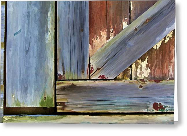 Worn In Greeting Cards - Details of a Weathered Barn Door II Greeting Card by David Letts