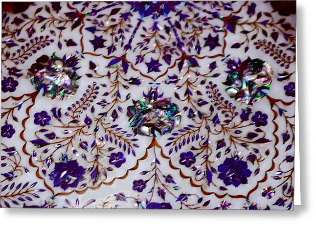 Marbel Greeting Cards - Details of Marble Inlay Greeting Card by Linda Phelps