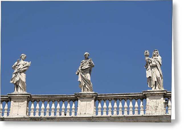 The Vatican Greeting Cards - Details of statues on Saint Peters Basilica. Vatican City. Rome. Lazio. Italy. Europe  Greeting Card by Bernard Jaubert