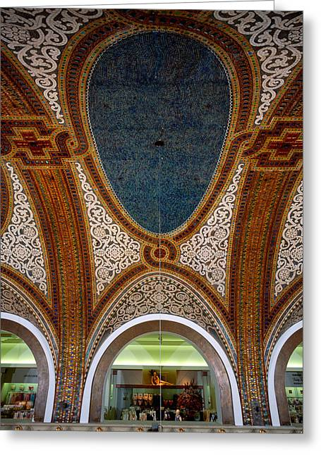 Ornate Pattern Greeting Cards - Details Of Tiffany Dome Ceiling Greeting Card by Panoramic Images