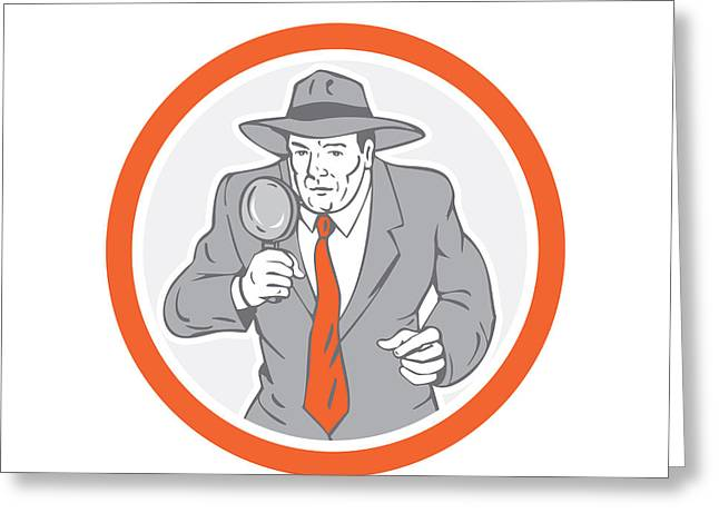 Police Officer Greeting Cards - Detective Holding Magnifying Glass Circle Retro Greeting Card by Aloysius Patrimonio