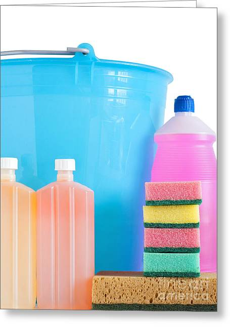 Wash Pail Greeting Cards - Detergent Bottles Bucket And Sponges Greeting Card by Antonio Scarpi
